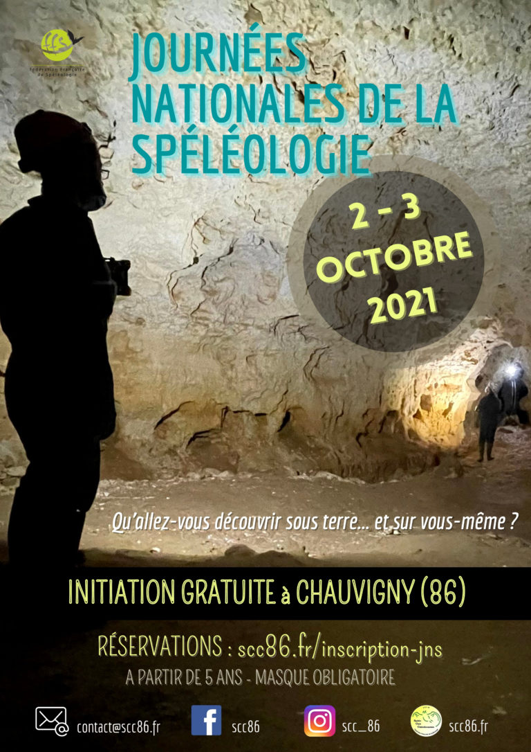 Flyer des Journées Natonales de la Spéléologie organisées les 2 et 3 octobre 2021 par le Spéléo Club Châtelleraudais